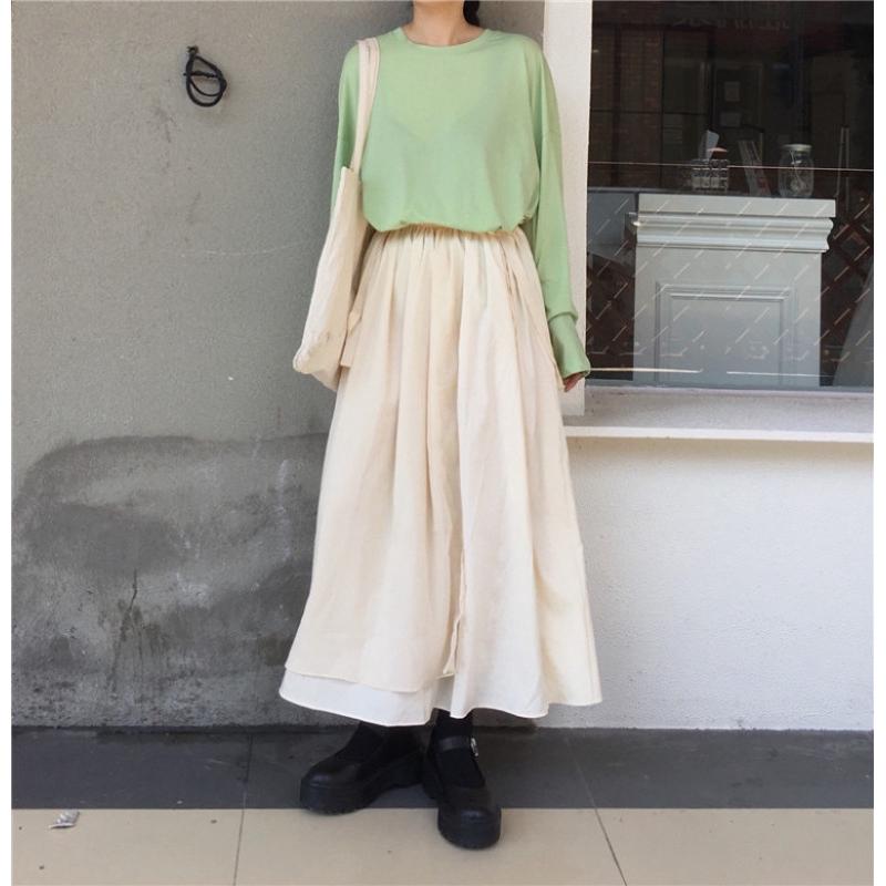 set áo thun tay dài phối ren hoa+váy ren hoa phong cách vintage