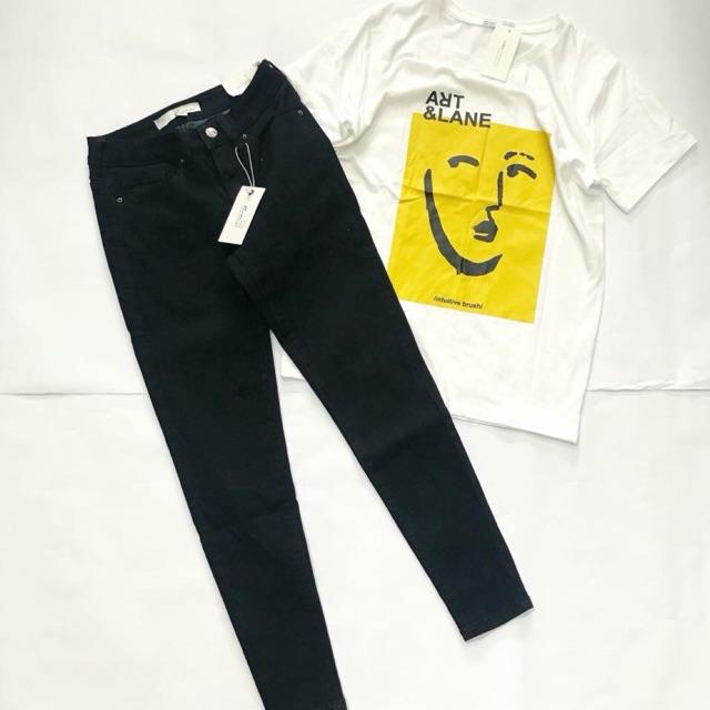 Quần Jeans Cạp Cao Đen Trơn - Có Túi