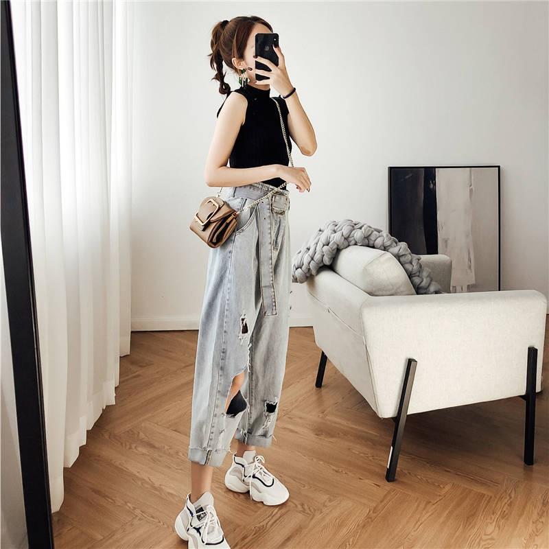 Quần Jeans Nữ Lưng Cao Rách Gối Thời Trang Hàn