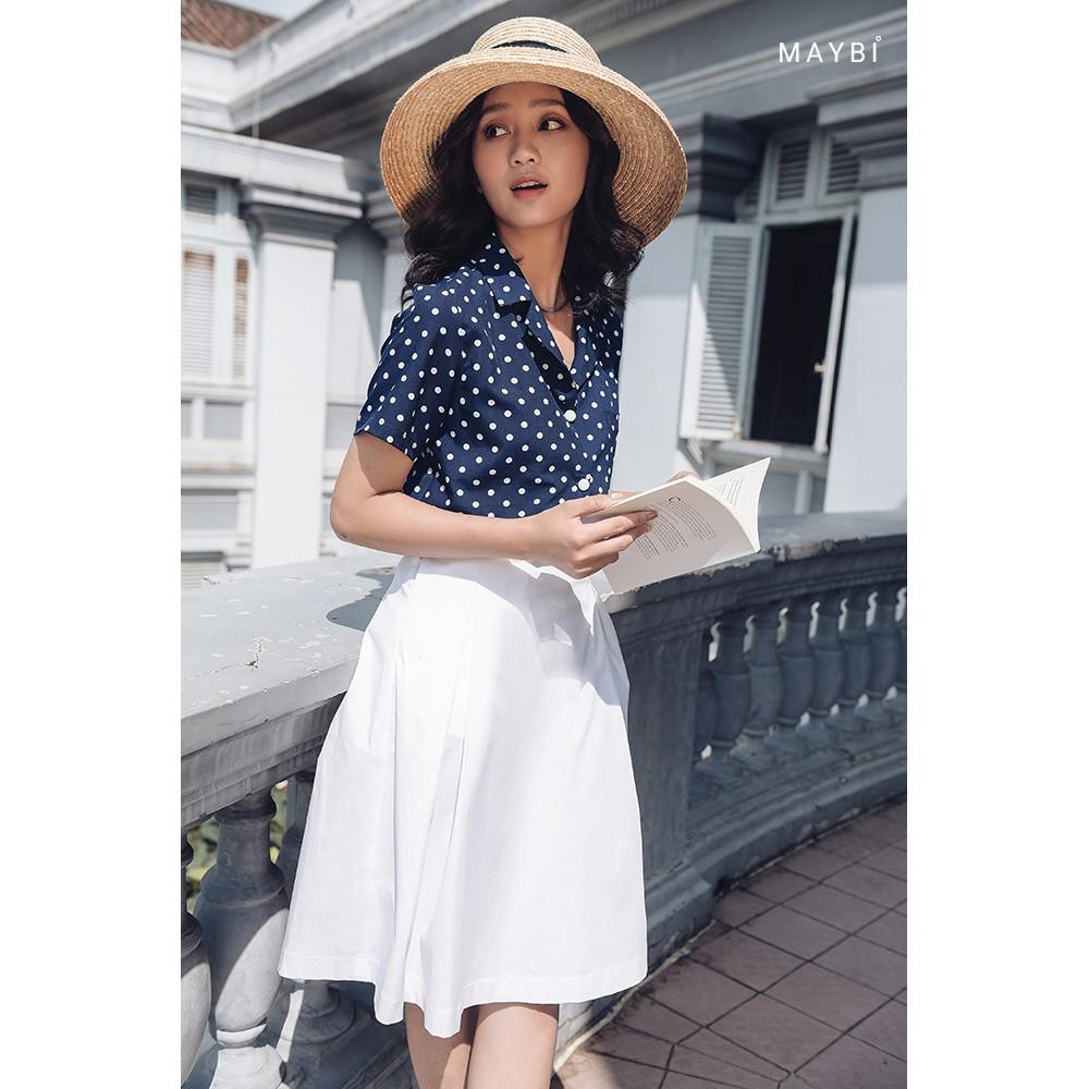 Chân váy xếp ly trắng - Creamy White Skirt maybi