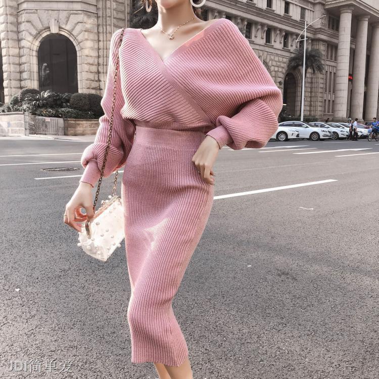 Set Áo Len Cổ Chữ V + Chân Váy Lưng Cao Thời Trang Cho Nữ