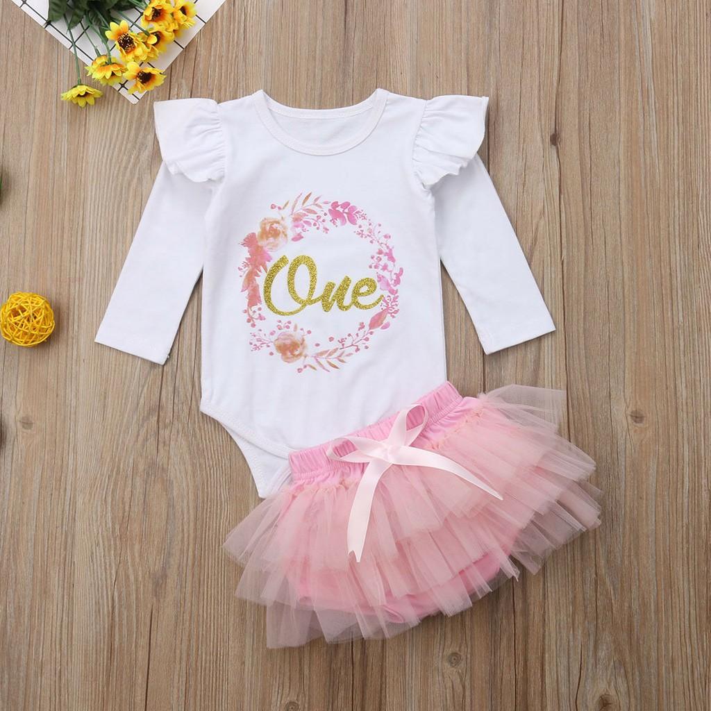 Set áo liền quần tay dài và chân váy tutu xinh xắn công chúa cho bé gái