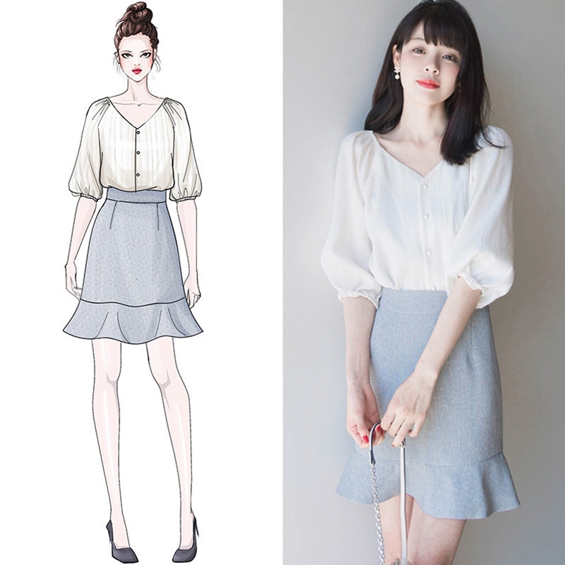 Set Áo Thun Ngắn Tay + Chân Váy Thời Trang Nữ Tính