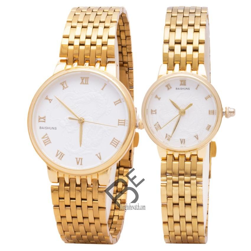 Đồng hồ đôi Baishuns dây kim loại vàng mặt trắng