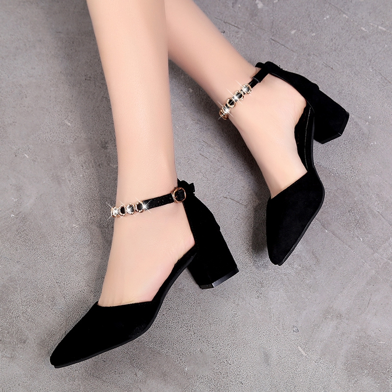 ▽ﺴHundred Black one-word buckle thick heel single shoes female middle with pointy high heels spring student Sandals S