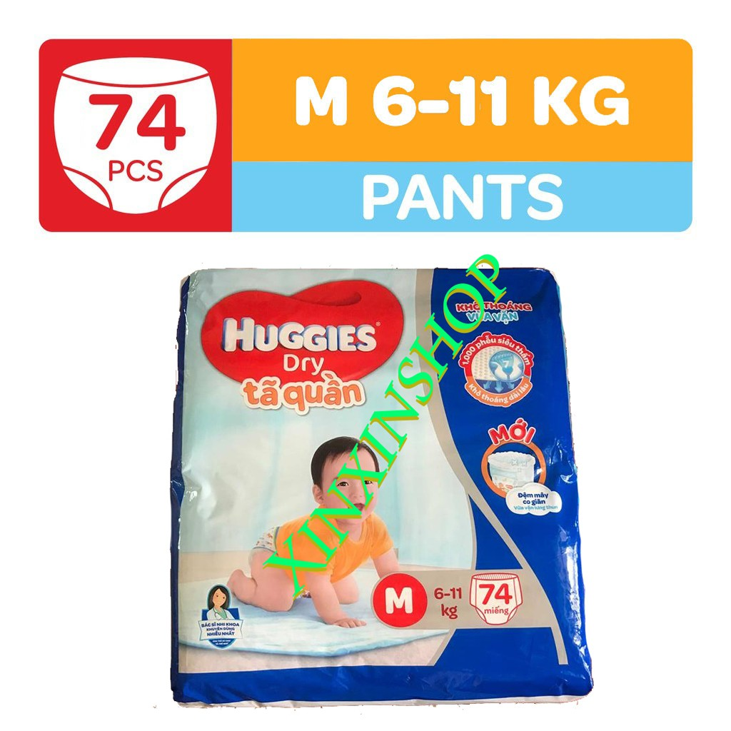 Combo 2 Tã quần HUGGIES DRY PANTS SUPER JUMBO M74/L68/XL62/XXL56