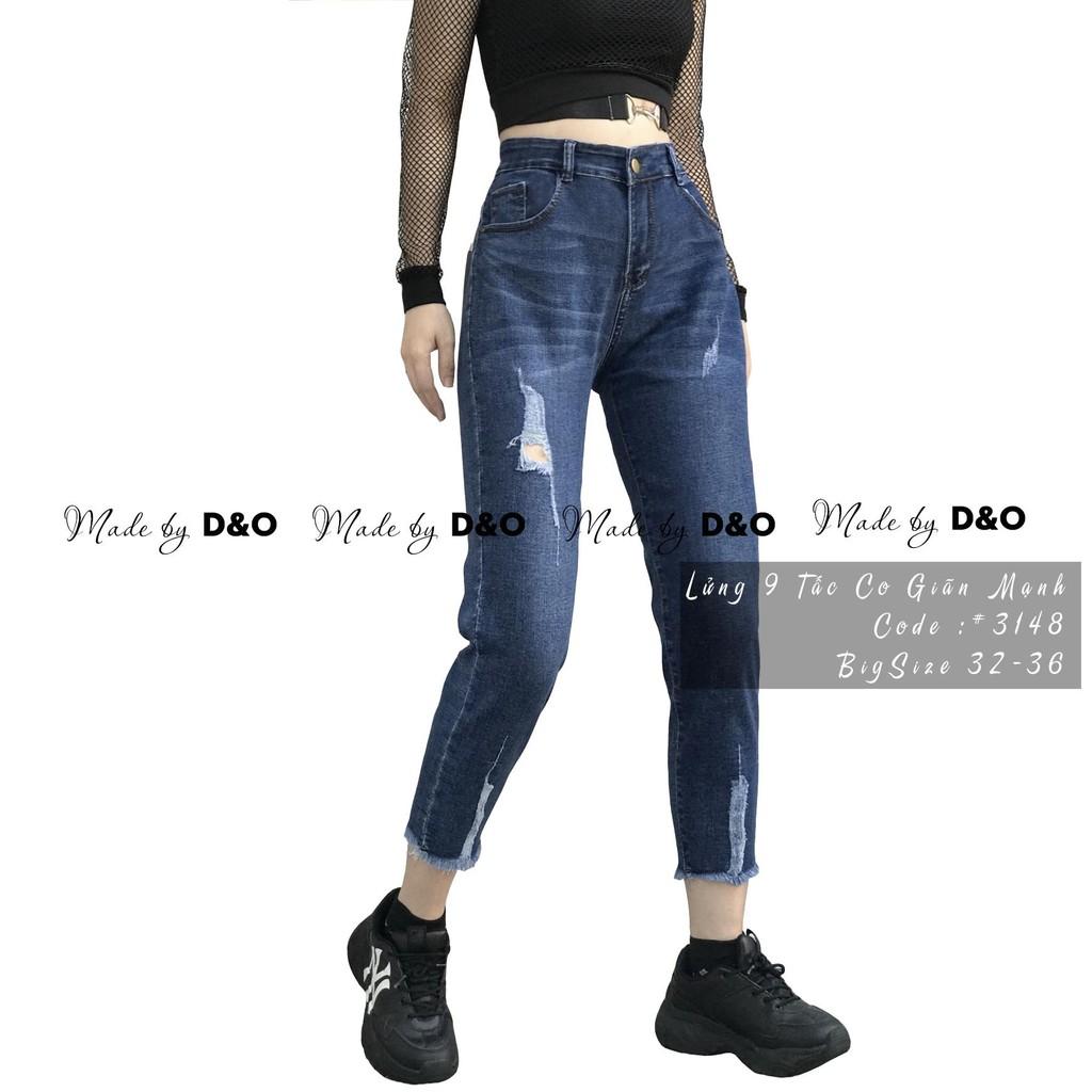 Quần jean 9 tất bigsize lưng cao siêu co dãn 3148 màu xanh - quần bò 9 tất size đại màu xanh rách