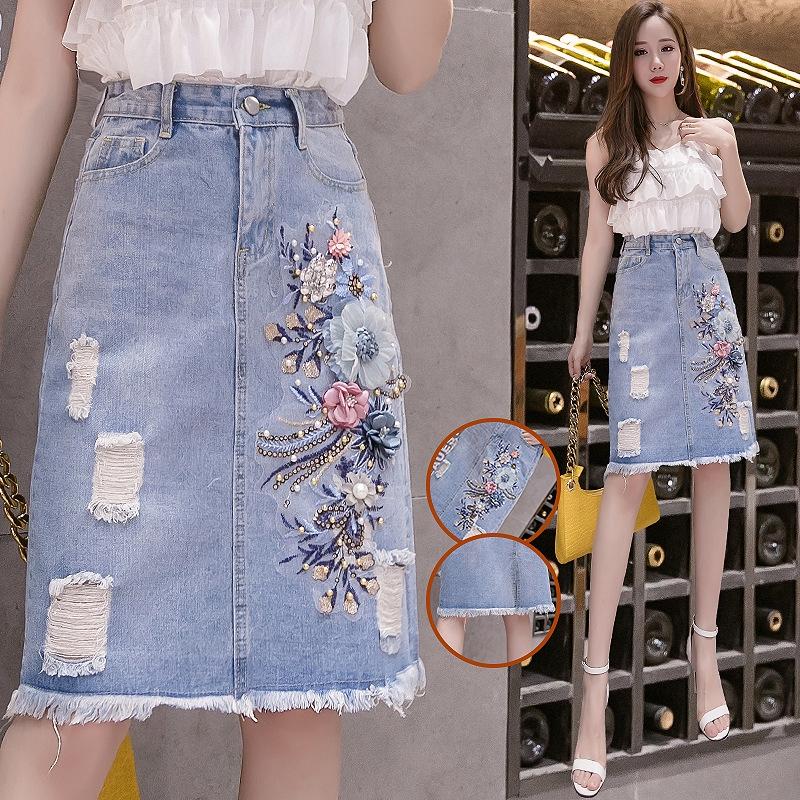 Chân Váy Jeans Lưng Cao Đính Cườm Thời Trang Cho Nữ