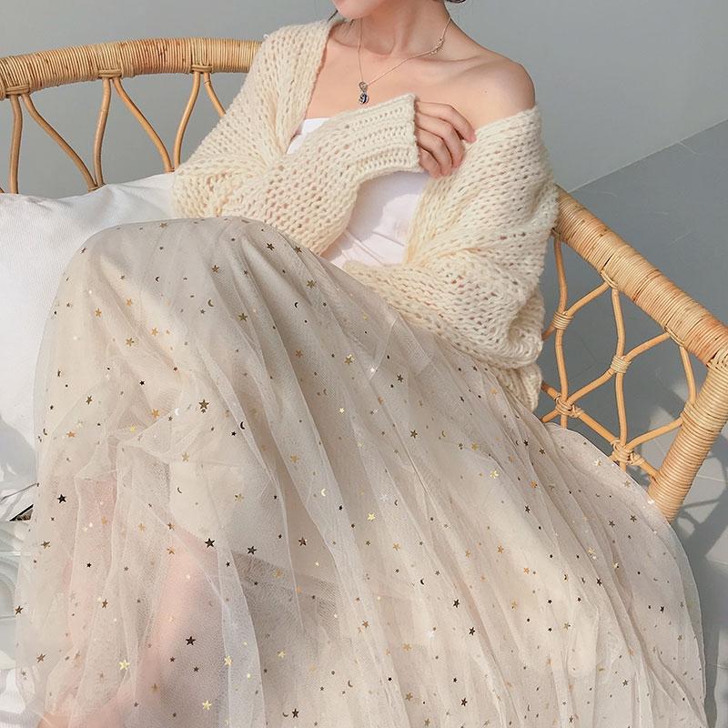 Chân váy voan dài đính kim sa lấp lánh phong cách Hàn Quốc thanh lịch cho nữ