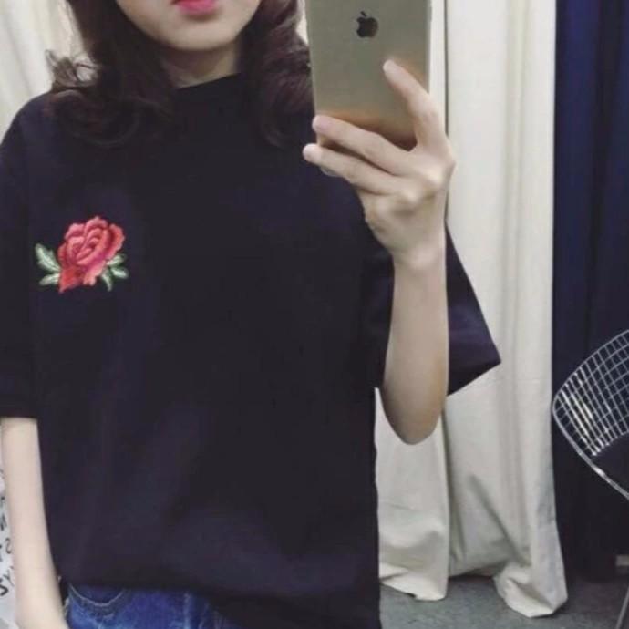 Áo thun nữ Minh Khoa hoa hồng (đen)