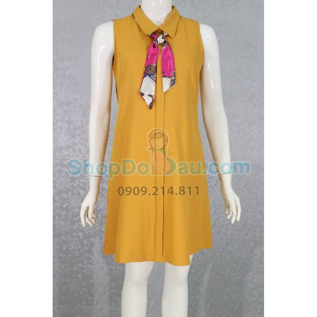 Đầm bầu cổ sơ mi - Voan dày - mát (Mã số: DB2117)