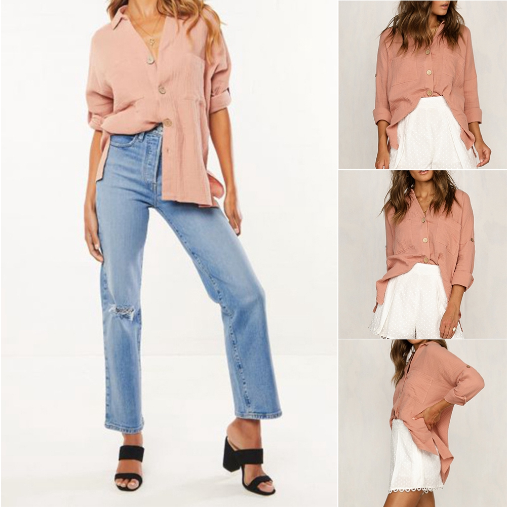 V Neck Loose Solid Casual Classic Cozy Spring Long Fashion Women Shirt