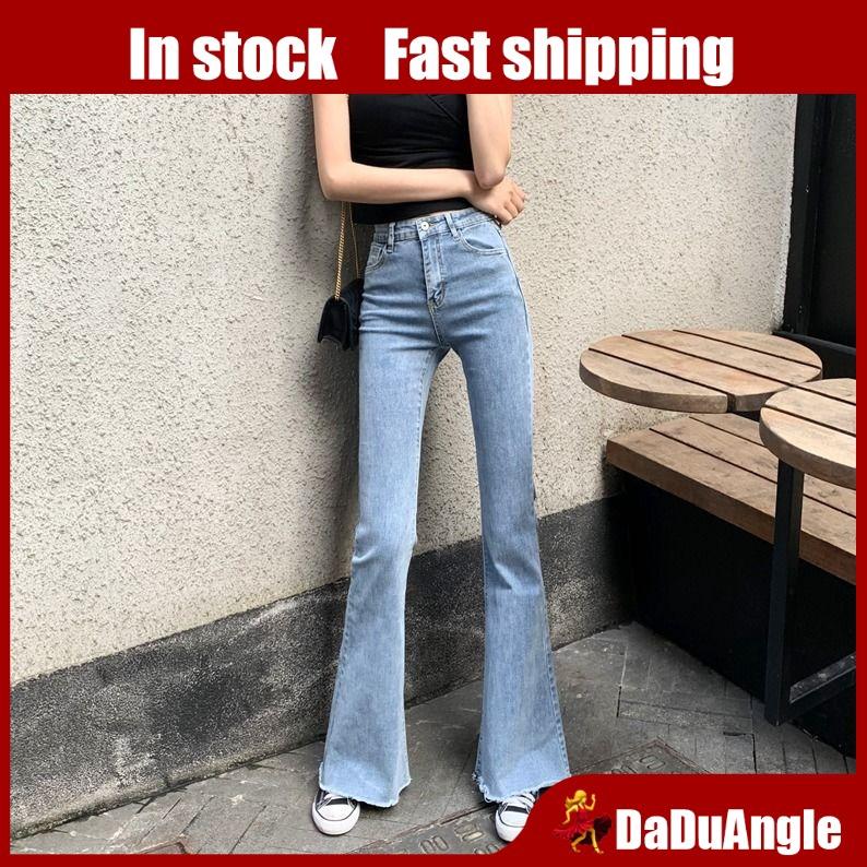 Quần Jeans Nữ Lưng Cao Ống Loe Thời Trang