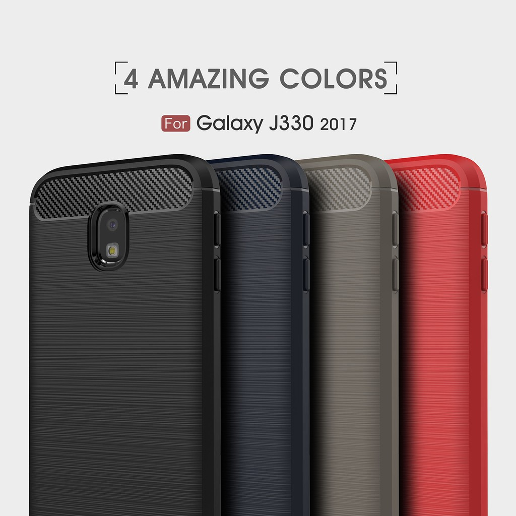 For Samsung J3 2017/J330 (EU Version) Slim Carbon Fiber TPU Silicone Case Cover