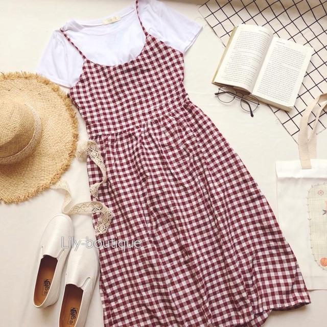 Váy yếm caro dài hở lưng