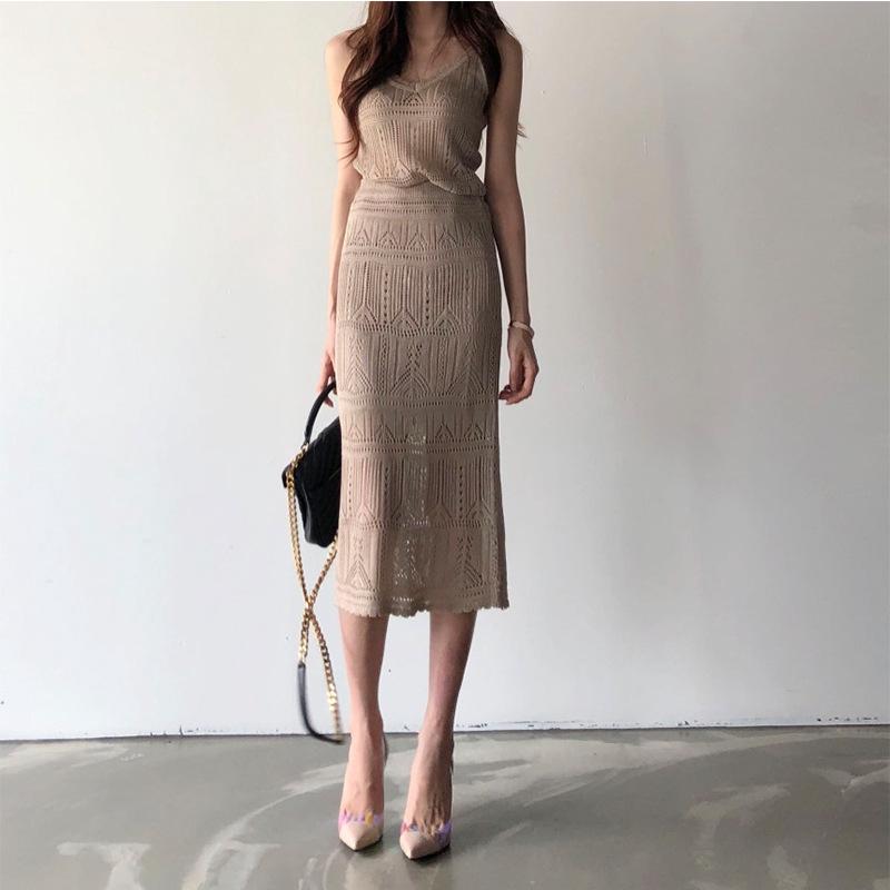 Set Áo Dây Cộc Tay Cổ Chữ V + Chân Váy Lưng Cao Quyến Rũ Cho Nữ