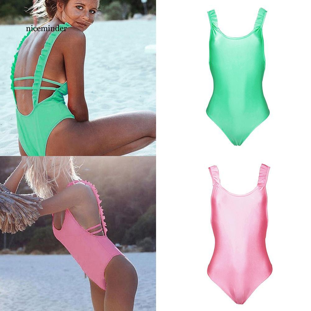 Bộ đồ bơi liền hở lưng màu trơn quyến rũ cho nữ