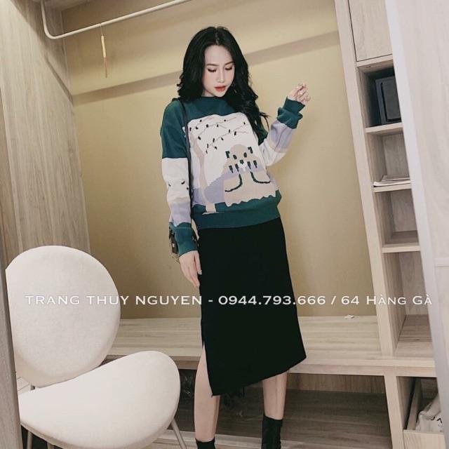 Set áo len xanh kèm chân váy hàng quảng châu