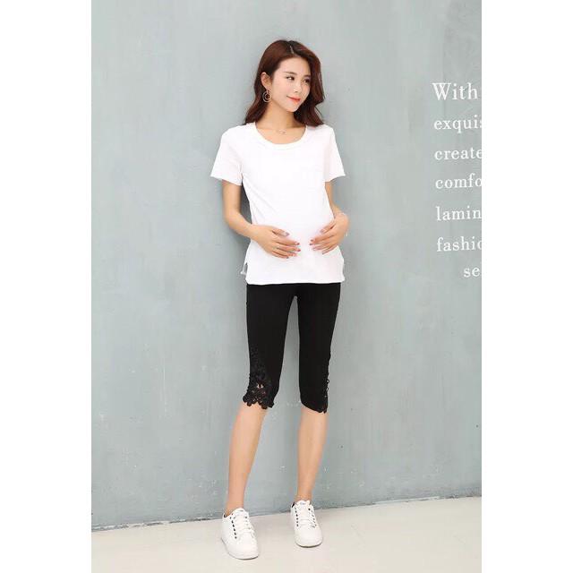 Quần ngố bầu chân ren chất cotton mát có chun chỉnh bụng