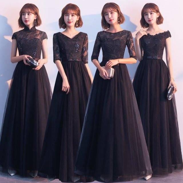 5508480352 - Đầm Dự Tiệc Dáng Dài Màu Đen Phong Cách Hàn Quốc Sang Trọng