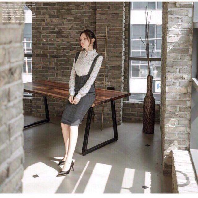 Set đầm yếm body + áo ren hoa tay dài siêu yêu dành cho nàng phong cách tiểu thư