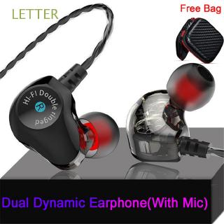 LETTER With Mic Sport In-ear Armature Music Dynamic Earphone