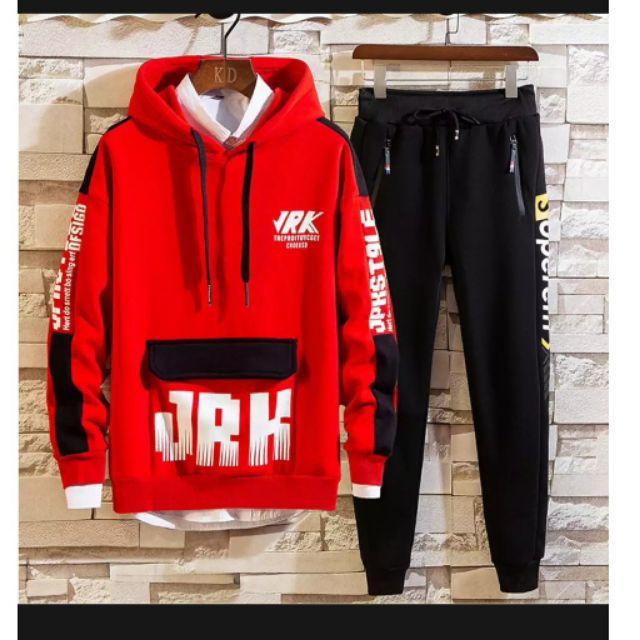 Bộ quần áo thun Hoodie nam túi hộp in chữ JRK phong cách đường phố