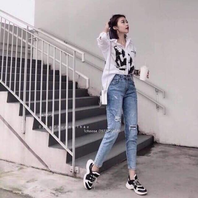 Combo quần jean+túi xách