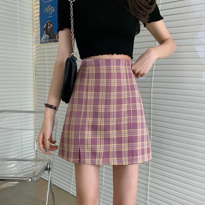 Set 2 Chân Váy Chữ A Họa Tiết Sọc Caro Thời Trang Hàn Quốc