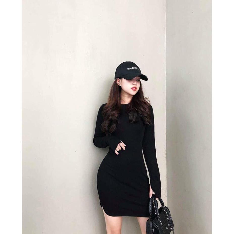 GIÁ SỐC Váy nữ [FREESHIP]  Váy nữ dài tay xỏ ngón đầm đen trơn