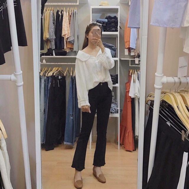 Quần jean đen ống loe ( clip thật )
