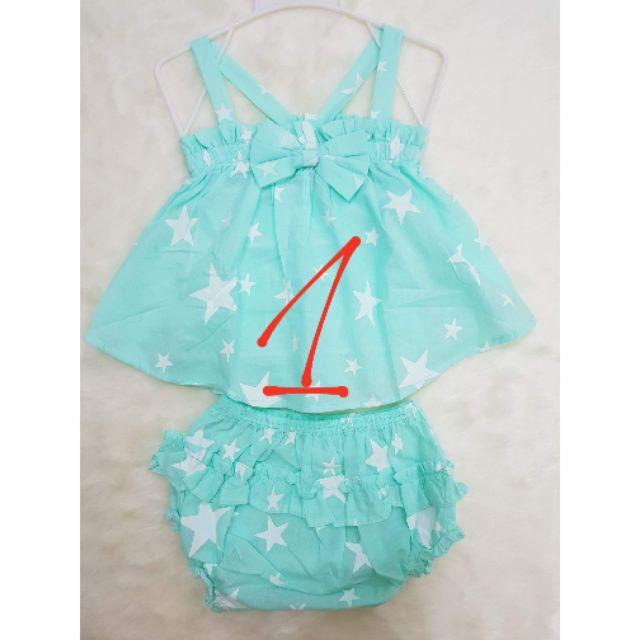 Set áo hai dây quần chip ngôi sao xanh cho bé