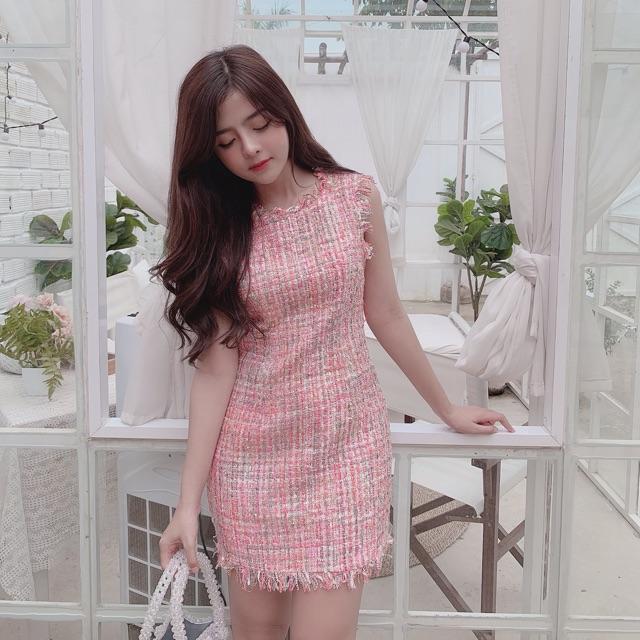 Đầm tweed hồng