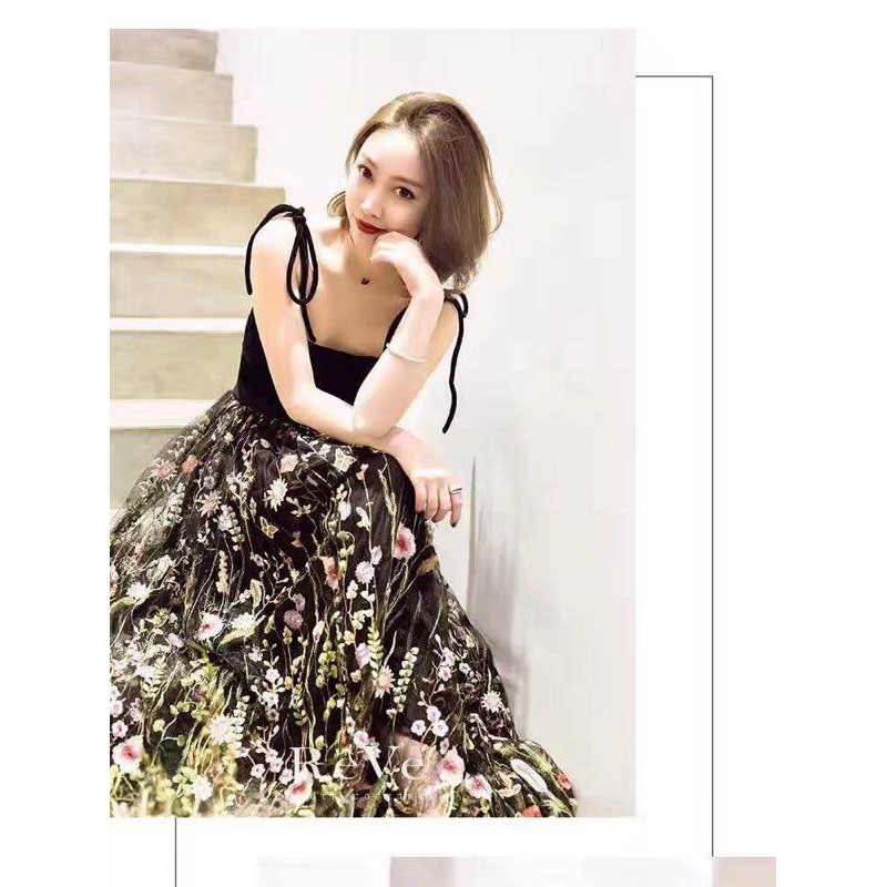 Set áo buộc dây & chân váy maxi thêu hoa