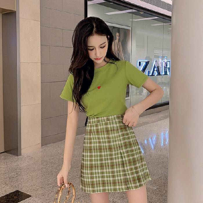 Set Áo Thun Ngắn Tay + Chân Váy Ca Rô Lưng Cao Thời Trang Nữ