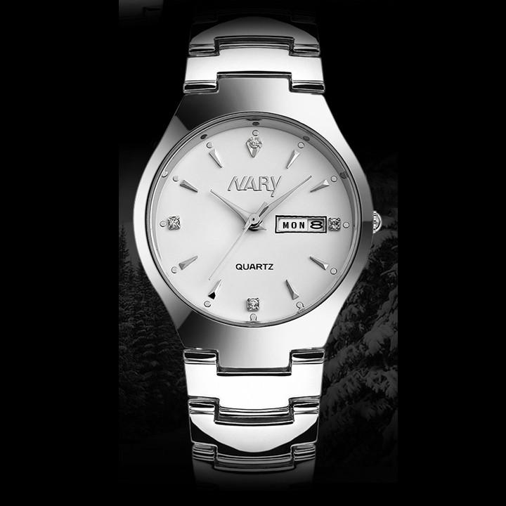 Đồng hồ nam Nary HSP7511 dây thép không rỉ, mặt kính size 36mm
