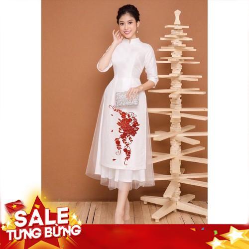 Bộ áo dài cách tân Mai Lan thêu công phối lưới cao cấp
