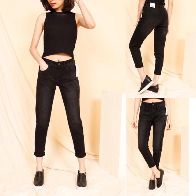 Quần jeans lỡ đen, cafe