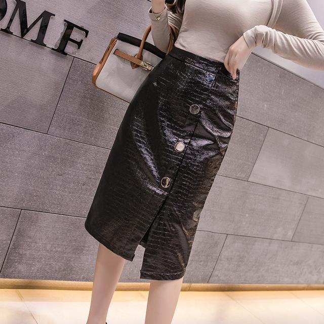 Chân váy dài bằng da Pu xẻ tà trước thời trang mùa thu