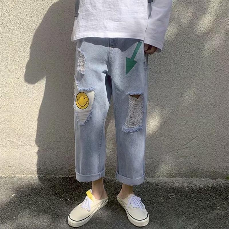 Quần Jeans Dài In Hình Mặt Cười Cá Tính Cho Nam