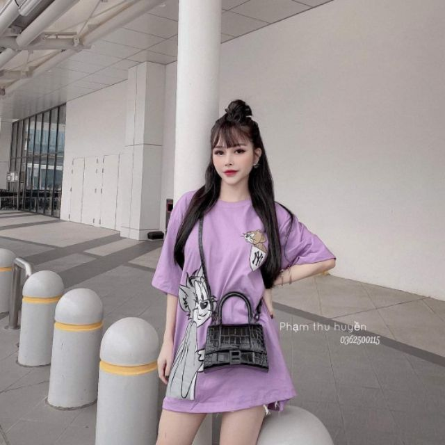 Áo phông nữ dáng rộng, áo thun tay lỡ họa tiết mèo chuột (kèm ảnh thật, video)
