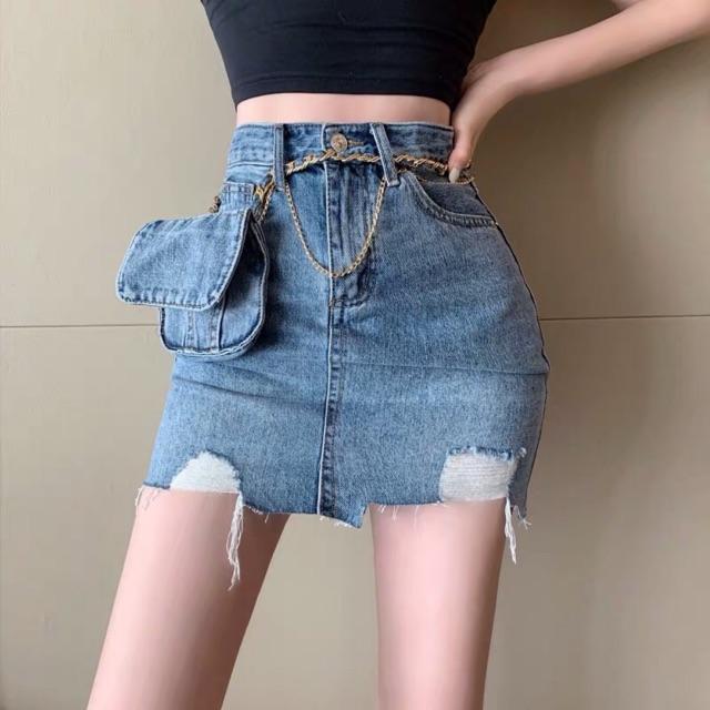 Chân váy jeans Ulzzang dây xích túi hông _QGZ01