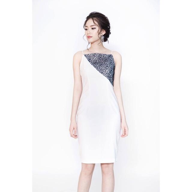 Đầm 2 dây trắng phối ren đen