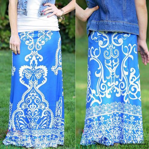 Chân váy dài in hoa thời trang cho mẹ và bé