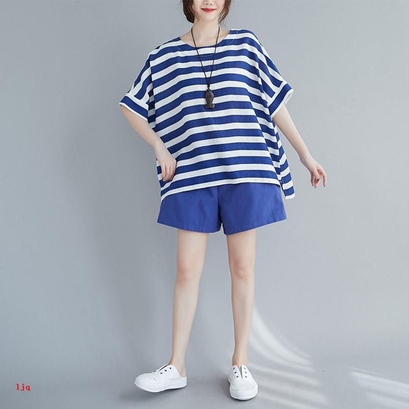 Set Áo Thun Tay Ngắn Sọc Ngang + Chân Váy Màu Trơn Thời Trang Dành Cho Nữ