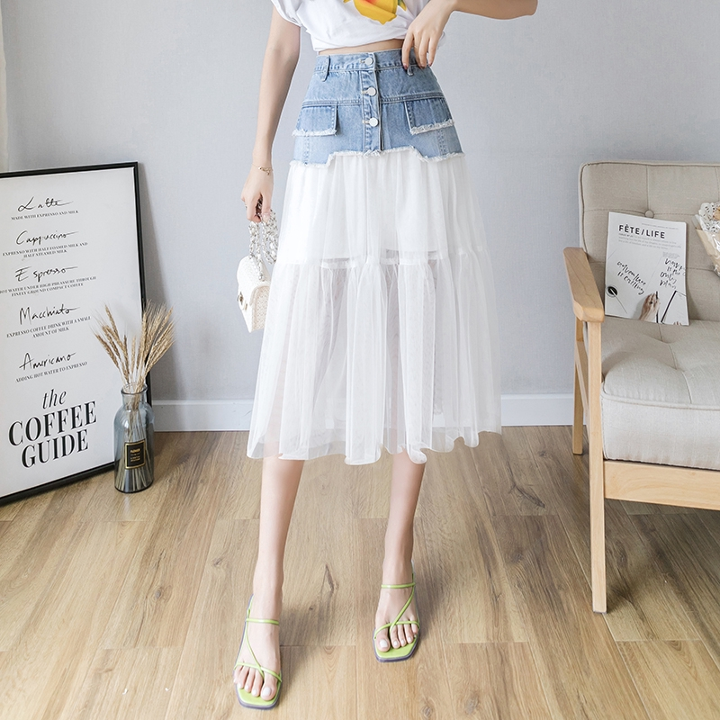 Chân Váy Jeans Chữ A Phối Lưới Thời Trang Cho Nữ