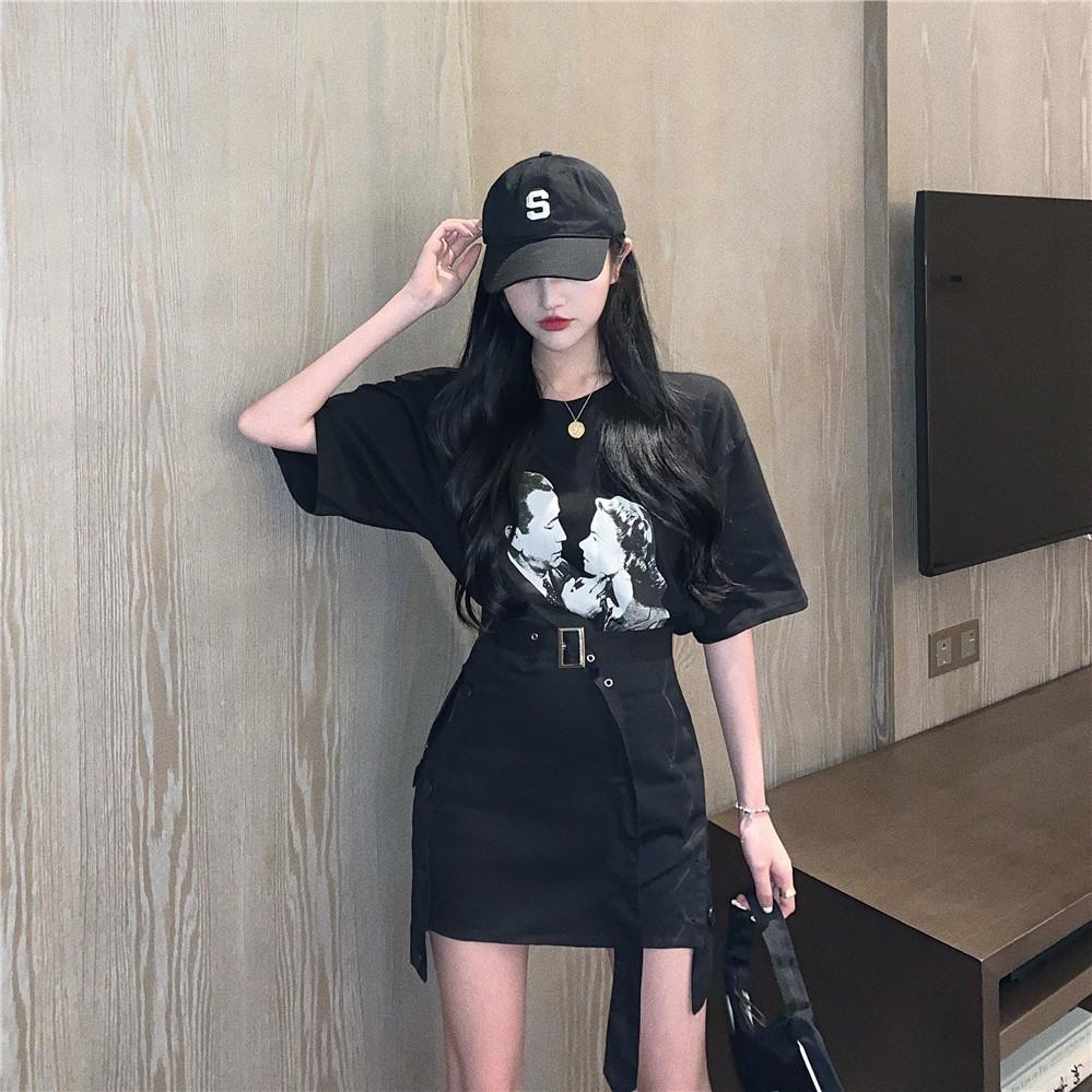 Set Áo Thun Ngắn Tay + Chân Váy Lưng Cao Thời Trang Hàn Cho Nữ