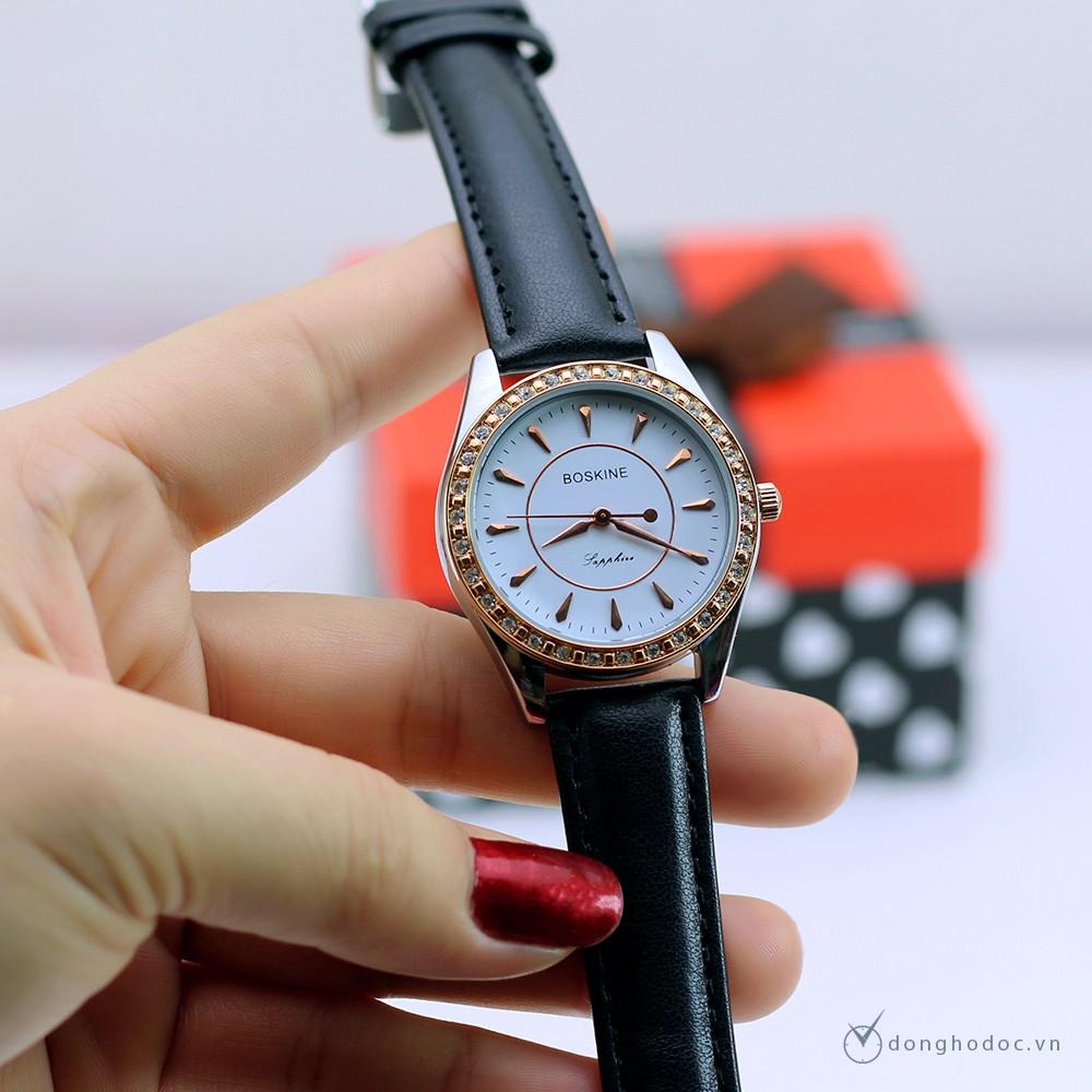 Đồng hồ nữ BOSKINE Sapphire máy nhật bản – dây da sần cao cấp