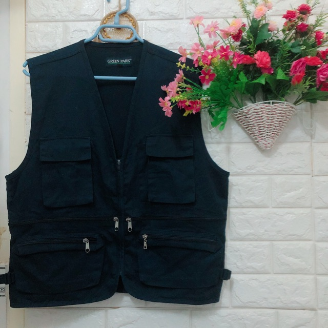 Thanh lý áo khoác gile xanh đen Green Park