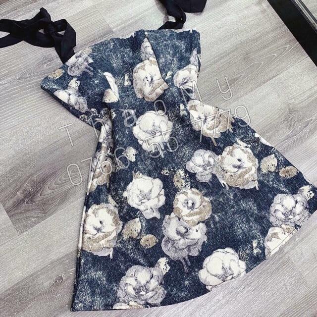 Thanh Lý đầm 2 dây hoa xanh
